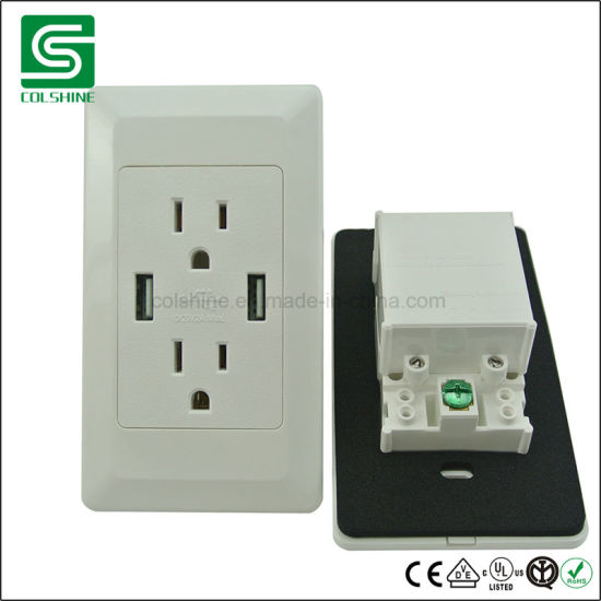 Us Standard Wall Socket USB Charger Protector Power Socket Outlet