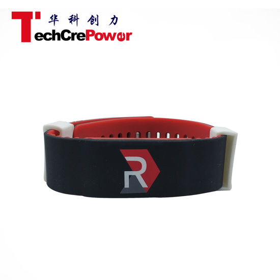 RFID Silicon Wristbands for Events, Waterproof RFID Wristbands NFC N Tag203/213/216 - Red + Black pictures & photos