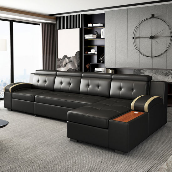Design Living Room Sofa Bed, Black Leather Sofa Bed With Storage