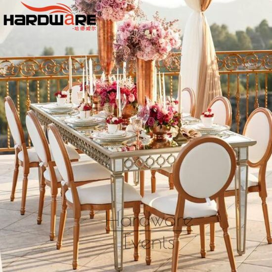 China Luxury Wedding Ceremony Mirror Glass Top Gold Stainless Steel Table China 12 Seater Dining Table Event Gold Chairs And Tables
