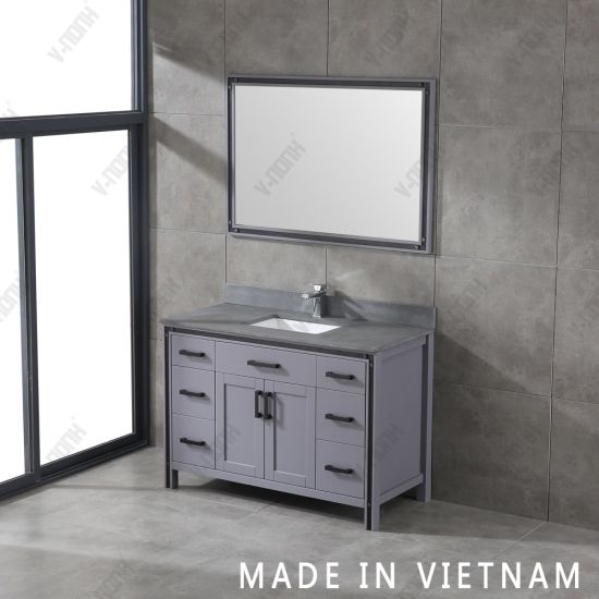 China 48inch Grey Cabinet With Rustic Black Granite Countertop Bathroom Vanity China Transitional Wall Mounted