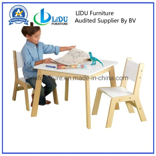 High Quality Wooden Kids Reading Square Table and Chair Solid Pinewood Coffee Table