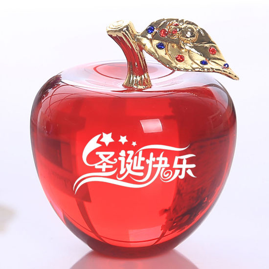 Hot Sale Crystal Apple Craft for Home Decoration
