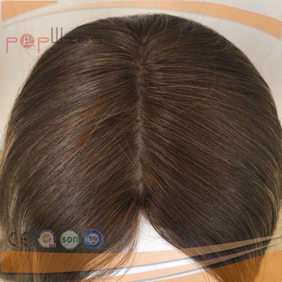 100% Unprocessed Omber Color Dark Brown Mixed Highlight Jewish Silk Top Wigs pictures & photos