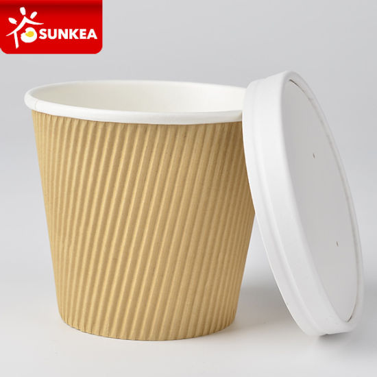15oz 17oz Double Wall Ripple Kraft Paper Soup Cup pictures & photos