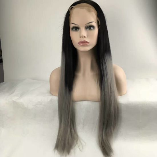 Ombre Two Tone Synthetic Grey Hair Wigs Natural Cheap Long Straight Heat  Resistant Wigs for Black Women Gray Womens Wigs 82978672a3