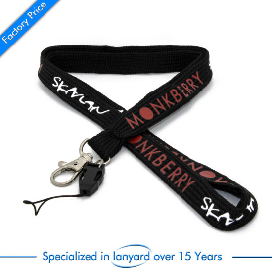 Printed Tubular Lanyard as Card Holder Polyester Custom Elastic Leather pictures & photos
