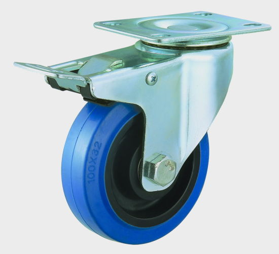 3/4/5 Inch Medium Duty Elastic Rubber Fixed Caster Noiseless Trolley Caster Wheel pictures & photos