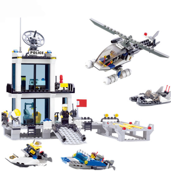 1486726- Police Station Building Blocks Helicopter Boat Model Bricks Toys  Compatible Famous Brand Brinquedos Birthday Gift
