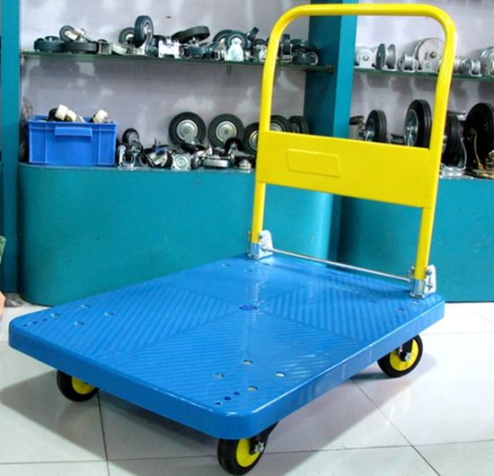300kg Yellow Plastic Platform Hand Cart Noiseless Folding Trolley pictures & photos