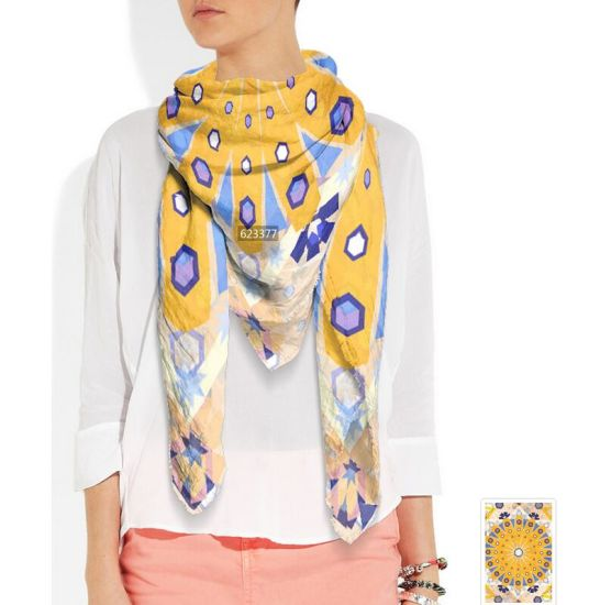 Screen Printed 90cm Square Silk Scarf with Hand Rolled Stitich