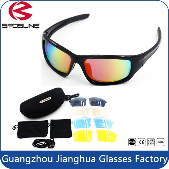 85c8150ba3 Multi Function Popular PC Frame Material Sport Sun Eyewear with Changeable Lens  Sunglasses Set