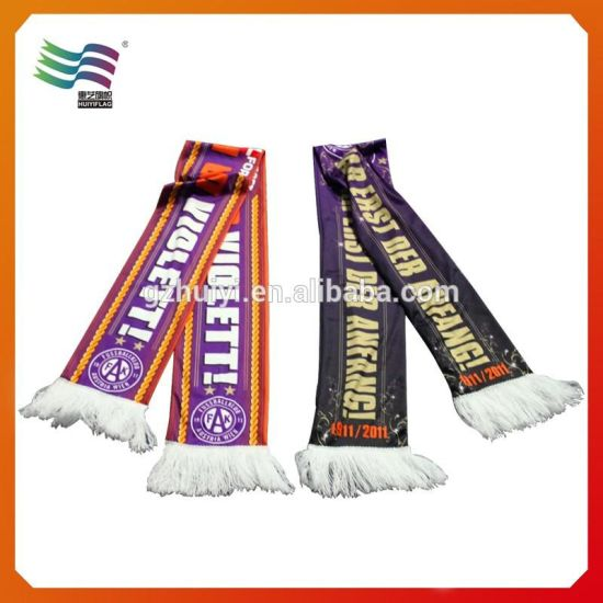 SGS Certificated Custom Knitted Cotton Football Sport Scarf (hu-2210)