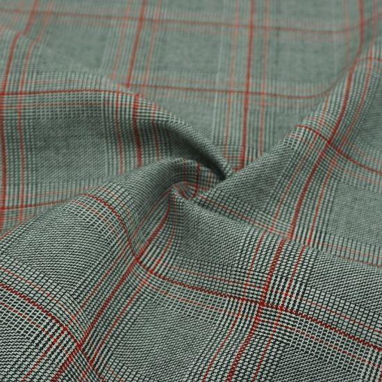 64% Polyester 34% Rayon 2% Spandex Check Tr Fabric