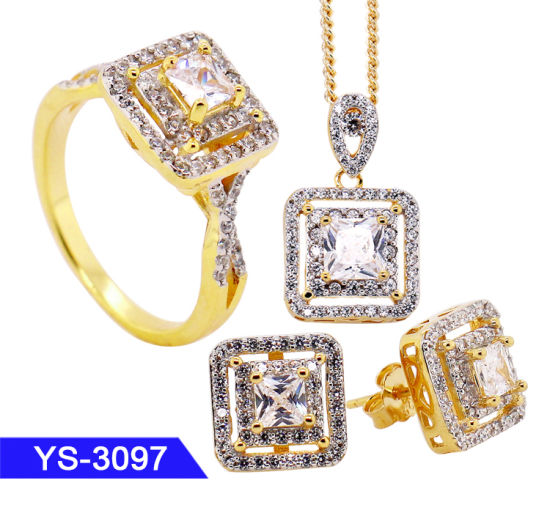 4458372a3 Fashion Jewelry Sterling Silver or Brass 14K Gold Plated Cubic Zirconia  Fine Jewellery Sets pictures &