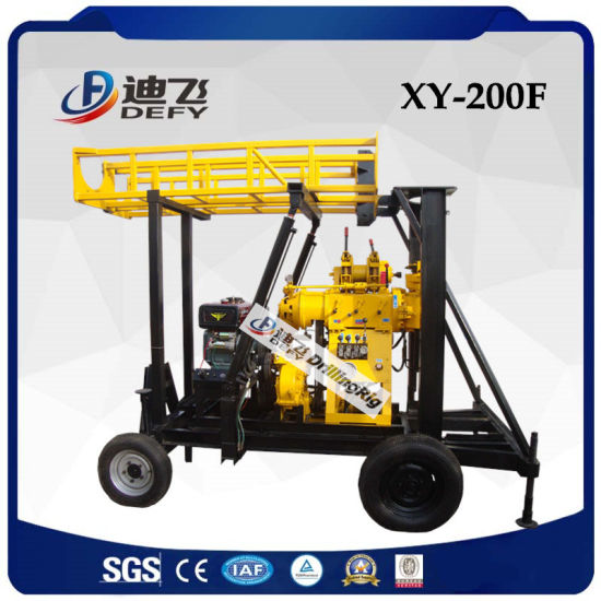 Xy-200f 200m Trailer Mounted Water Well Borehole Drilling Rig