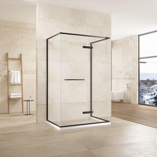 Matt Black Stainless Steel Hinge Shower Doors with 304 Ss Handle and Towel Bar