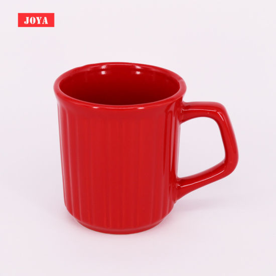 12 Oz Ceramic Coffee Mug with Vertical Line