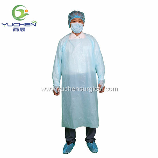 Disposable CPE Impervious Gown with Thumb Hole Disposable Isolation Gown
