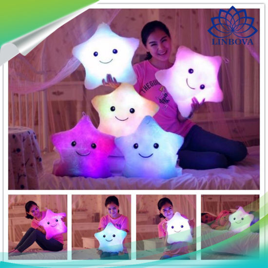 Cute LED Star Shap Dakimakura with Music Soft Decorative Pillow Plush Toy Gift Pillow as Christmas Promotional Gift