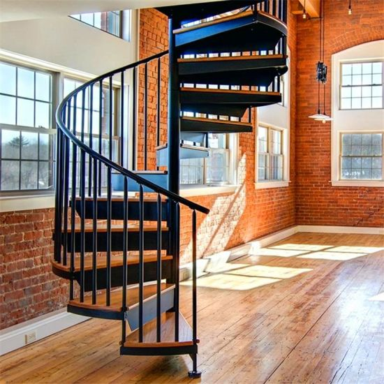 Outdoor Galvanizing Steel Spiral Staircase / Metal Wrought Iron Stairs  Design