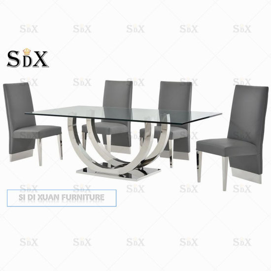 Modern UK Hot Sales Stainless Steel Dining Table and Dining Chair pictures & photos