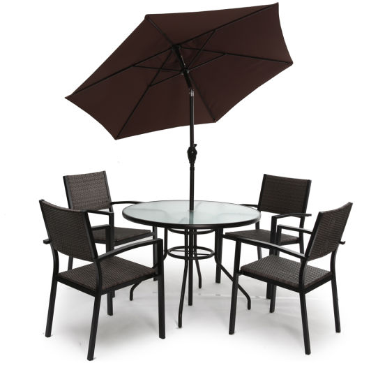 Outdoor Garden Furniture Sets with Dining Chair Round Table for Outdoor Furniture 5 PCS Set