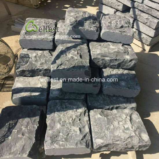Outdoor Wall Capping Stone Black Limestone Wall Pillar Caps