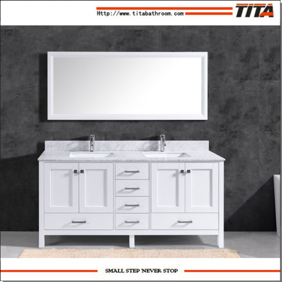 Hot Selling Solid Wood Modern Bathroom Vanity Cabinet T9199-48W pictures & photos