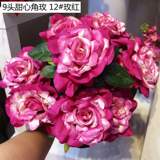 9 Head Bouquet Artificial Plastic Rose Wedding Party Home Decor Silk Flower New