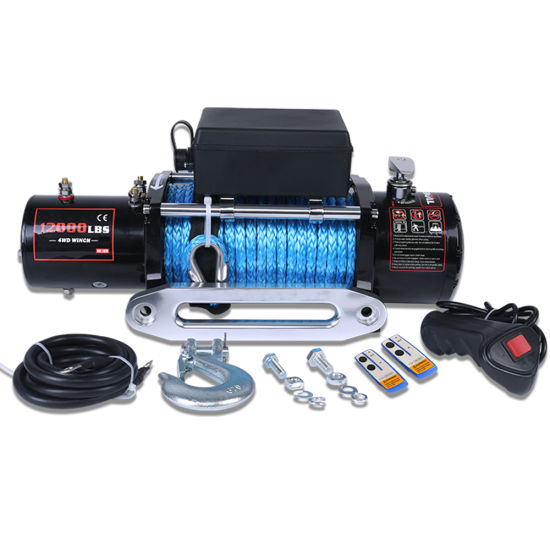 Heavy Duty 4X4 12000lbs Wireless Remote Synthetic Rope Electric Winch