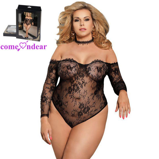Plus Size Black Eyelashes Lace Long-Sleeved Fat Women Sheer Teddy Lingerie pictures & photos