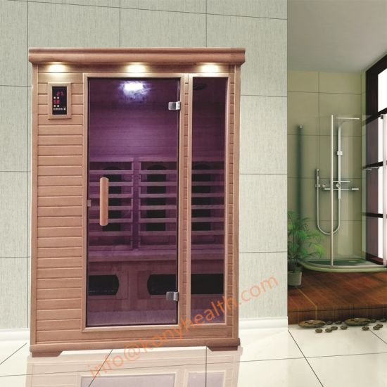 Freestanding Dry Sauna Room with Combined Ceramic and Carbon Heater for 2 People Use