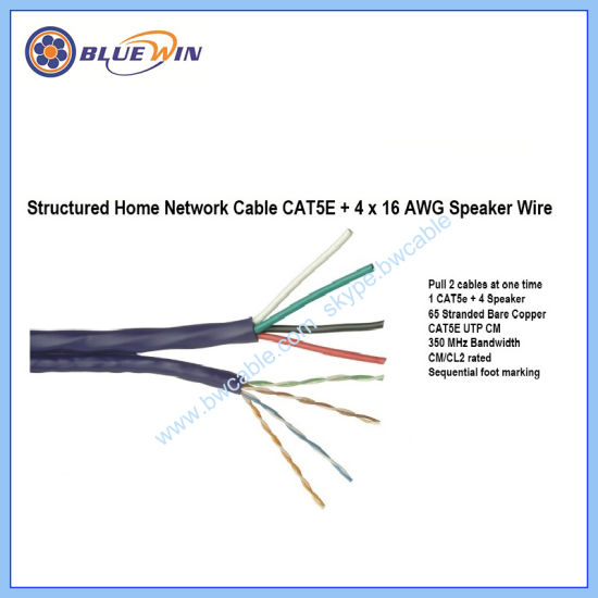 Bundled Home Network Cable Cat5e+4X16AWG Speaker Wire on