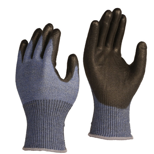13 Gauge ANSI Cut Level A7/ ISO 13997 Cut Level F Cut Protection Gloves, with Black PU Coating on Palm