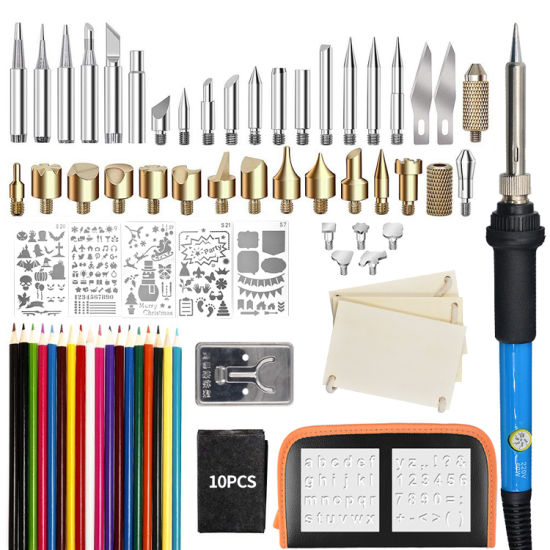 79PCS/Set 60W Temperature Adjustable Electric Soldering Iron Wood Burn Kit Toolkit for Embossing Carving Pyrography