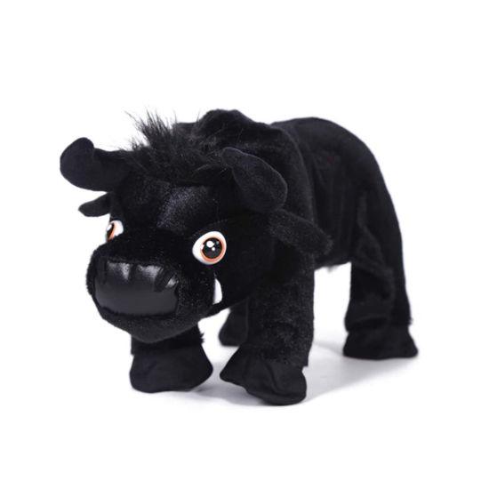 Black Bull Stuffed Soft Plush Fluffy Standing Animal Cow Toy