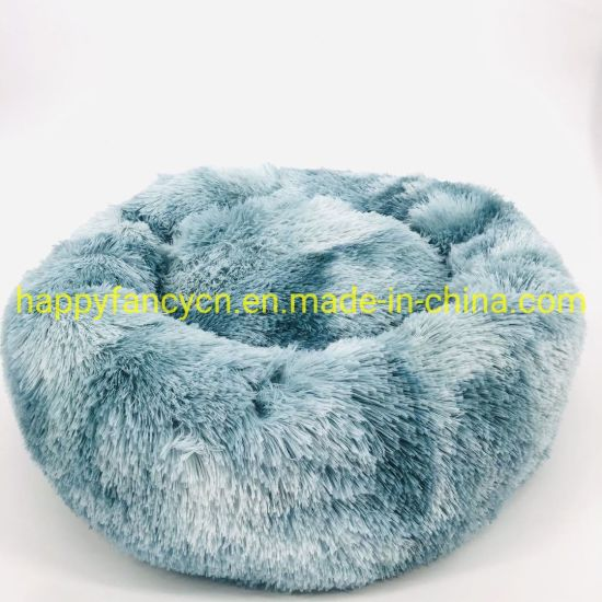 Green Round Doughnut Wholesale Long Plush Cat Bed Dog Bed Popular Pet Bed