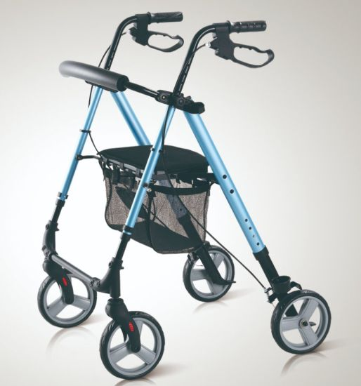 Medical Walker Rollator with Removable Shopping Bag and Comfortable Seat