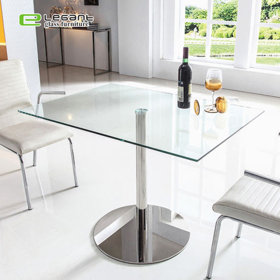 China Simple Design Square Tempered Glass Bar Table Dining Table China Dining Table Glass Dining Table