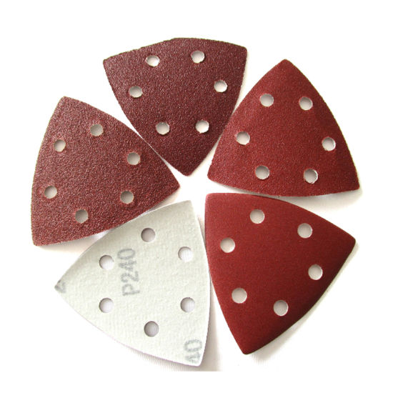 90X90X90mm 6-Hole Hook and Loop Red Aluminum Oxide Flocking Triangular Sandpaper Sanding Disc for Polishing and Grinding