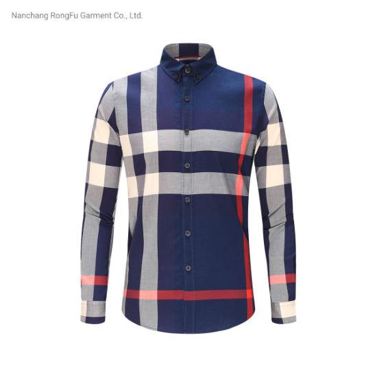 Pure Cotton Business Shirt Men's Classic Long Sleeve Plaid Shirt