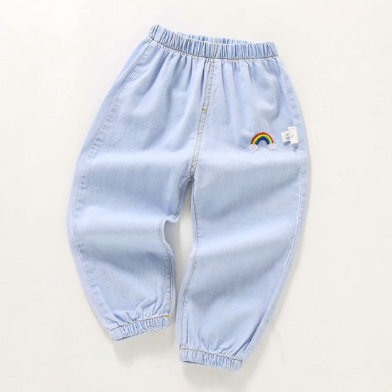 Xqm Denim Mosquito Pants Summer Kids New Korean Boy Jeans Embroidered Girls Lightweight