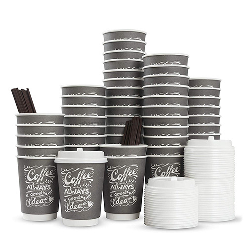 8oz 12oz 16oz Wholesale Double Wall Paper Cup with Lid for Hot Drink Coffee Tea