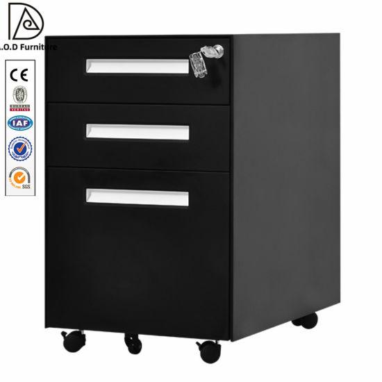 Steel Office Furniture 3-Drawers Filing Cabinet Lockable Mobile Pedestal