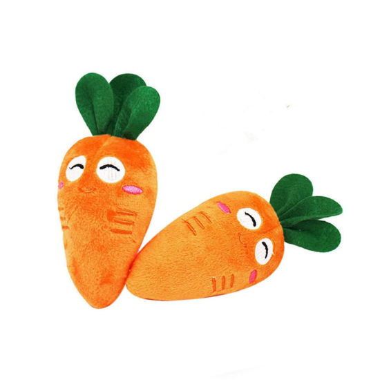 Soft Dog Cute Carrot Plush Chew Squeaker Sound Pet Toy