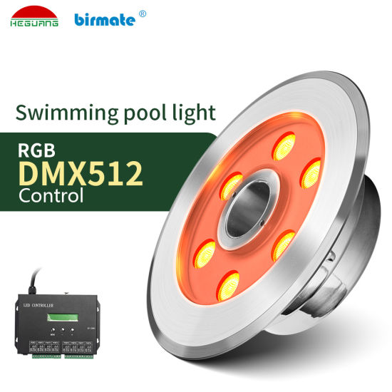 SS316L IP68 Waterproof 6W RGB LED Underwater Fountain Pool Light
