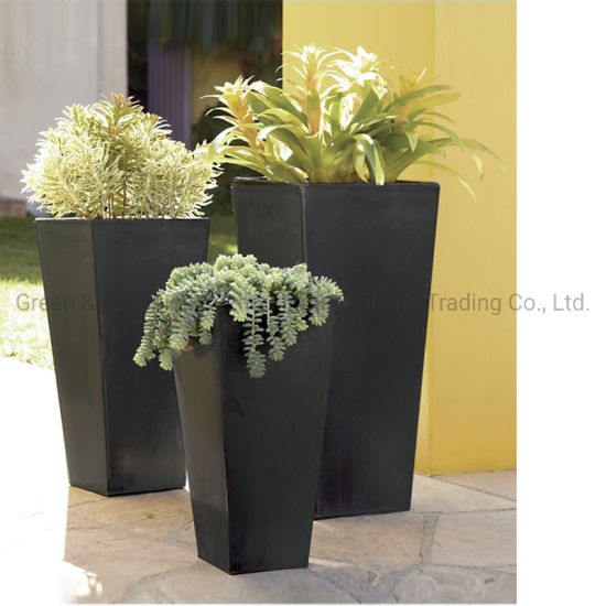 Home Decoration Tall Square Plastic Flower Pot Plant Pot Garden Planter with Stone Effect for Indoor and Outdoor