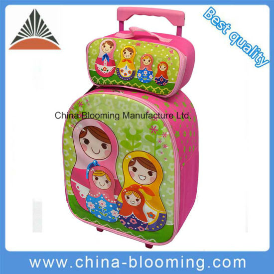 China Kids Attachable Roller Trolley Wheeled Backpack Rolling Bag
