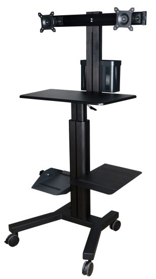 "Mobile Computer Workstation Gas Lift/Trolley Single Monitor 10-24"" Adjustable (GAS 1602A) pictures & photos"